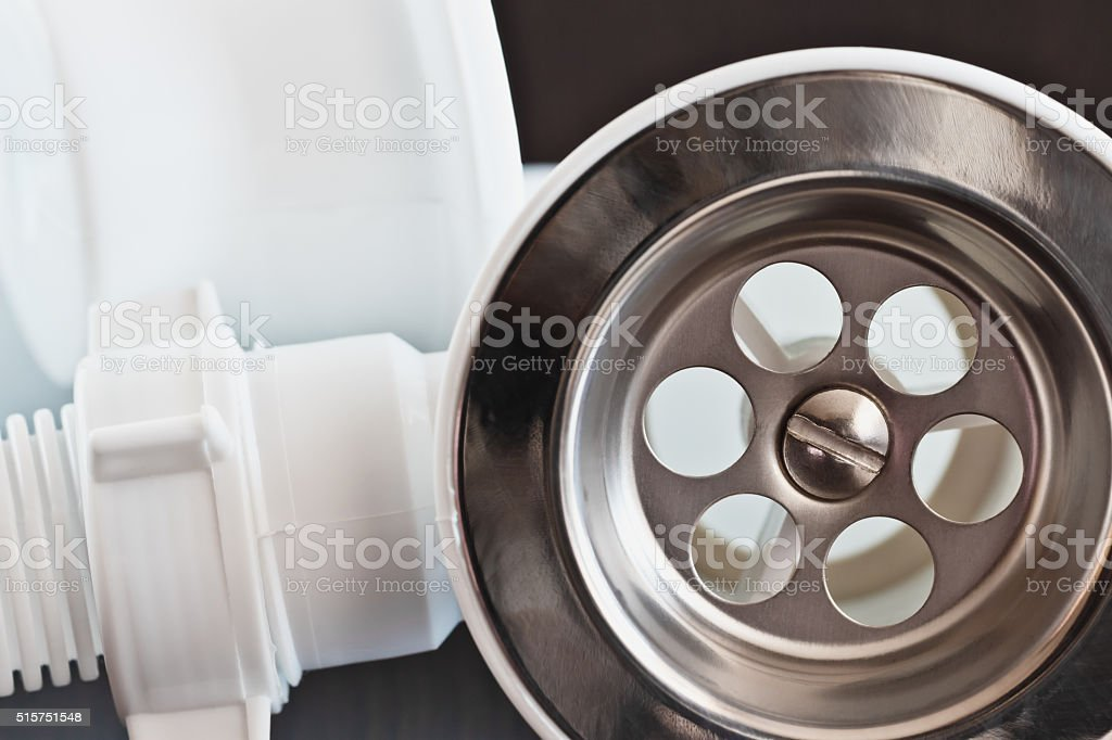Siphon water drain stock photo