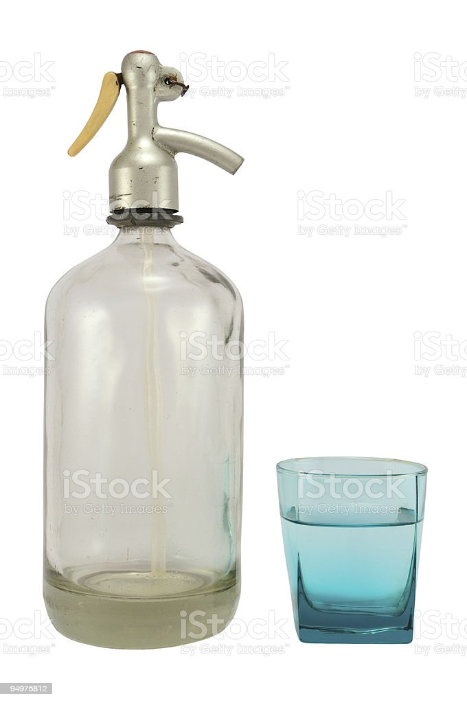 Siphon-bottle with glass stock photo
