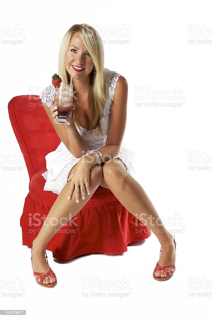 Sipping and Smiling royalty-free stock photo