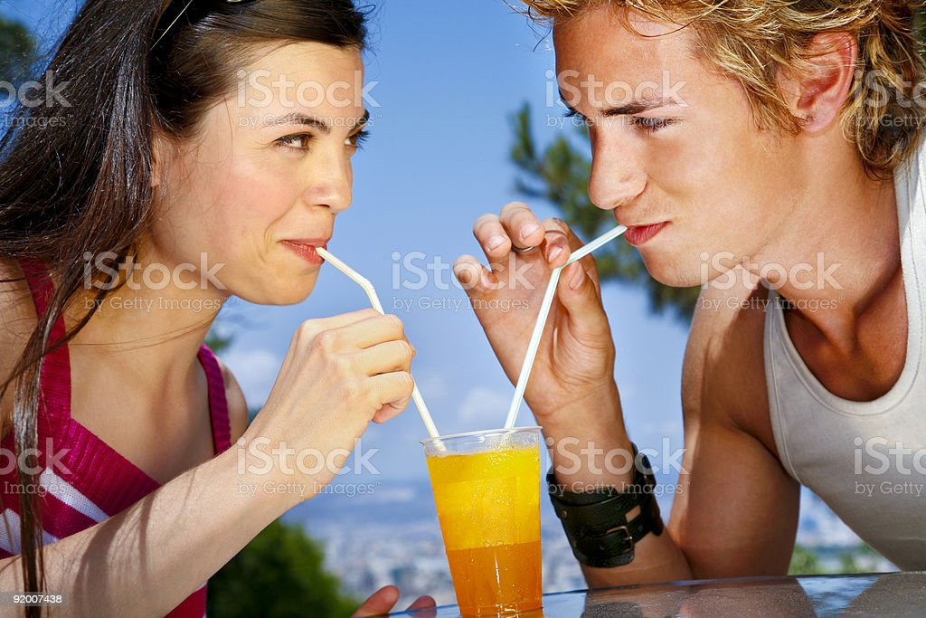 Sipping together royalty-free stock photo