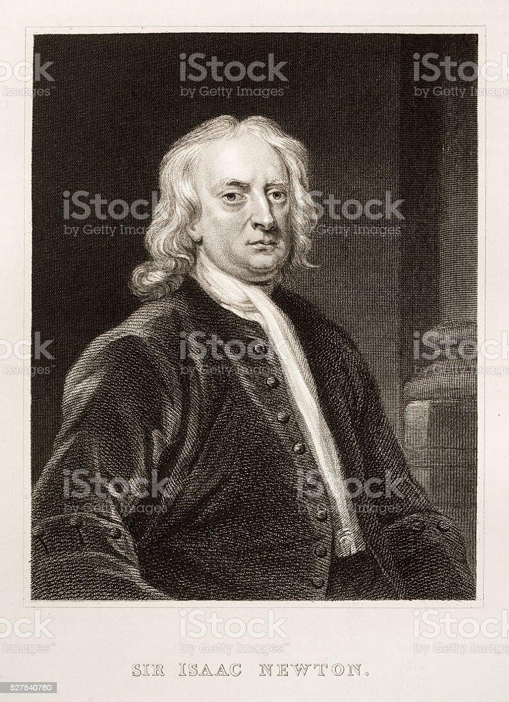 Sir Isaac Newton engraving stock photo