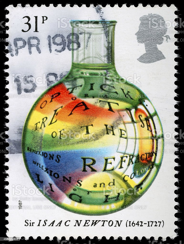 Sir Isaac Newton Postage Stamp royalty-free stock photo