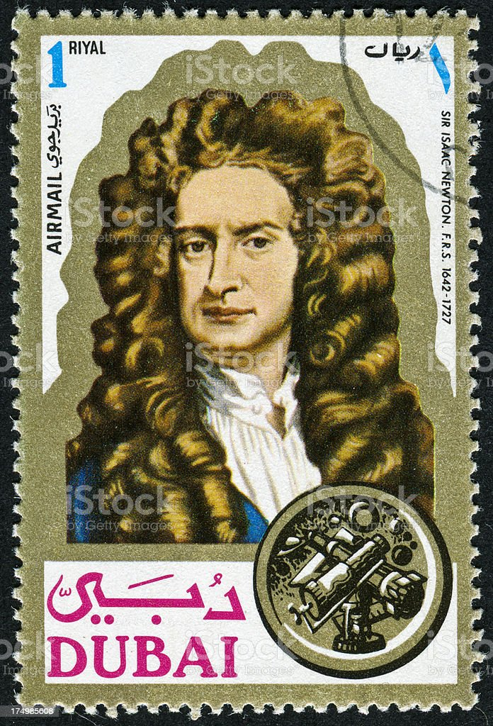 Sir Isaac Newton Stamp stock photo