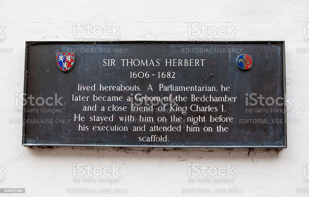 Sir Thomas Herbert Plaque in York stock photo