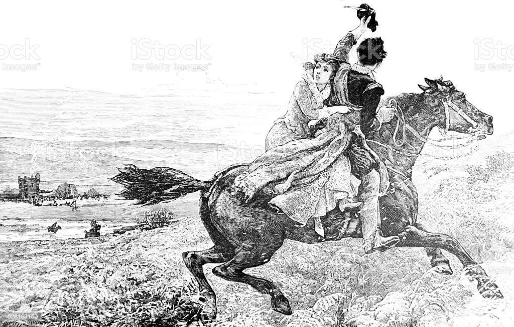 Sir Walter Scott on horse with a lady stock photo