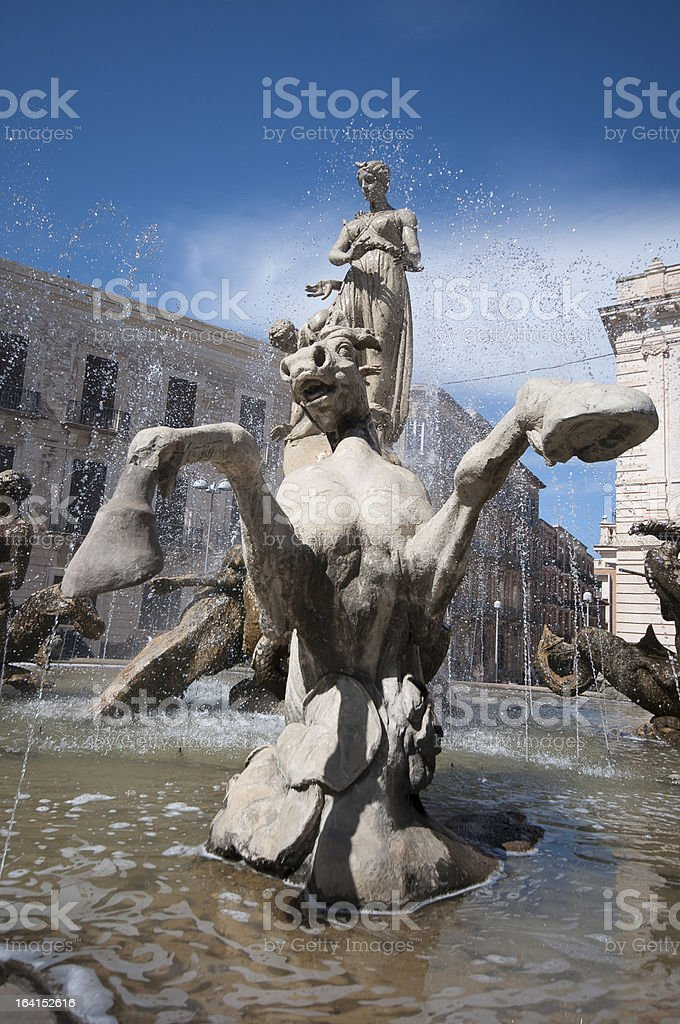 Siracusa in Sicily, Italy. Artemis' Fountain. royalty-free stock photo