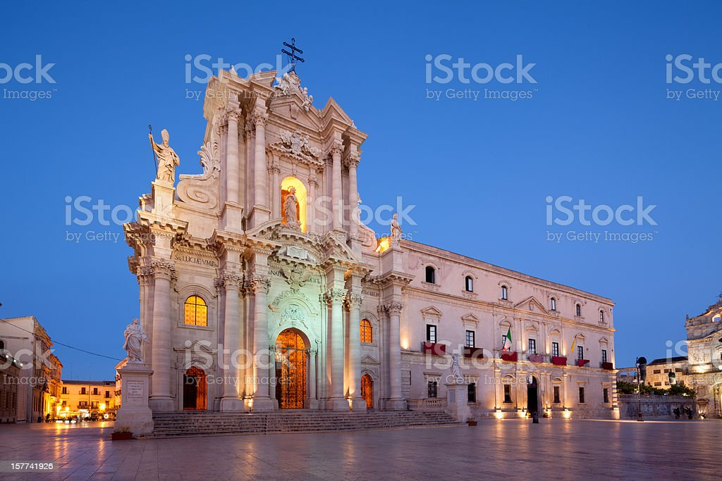 Siracusa Ortygia Cathedral facade from 1753, Sicily Italy stock photo