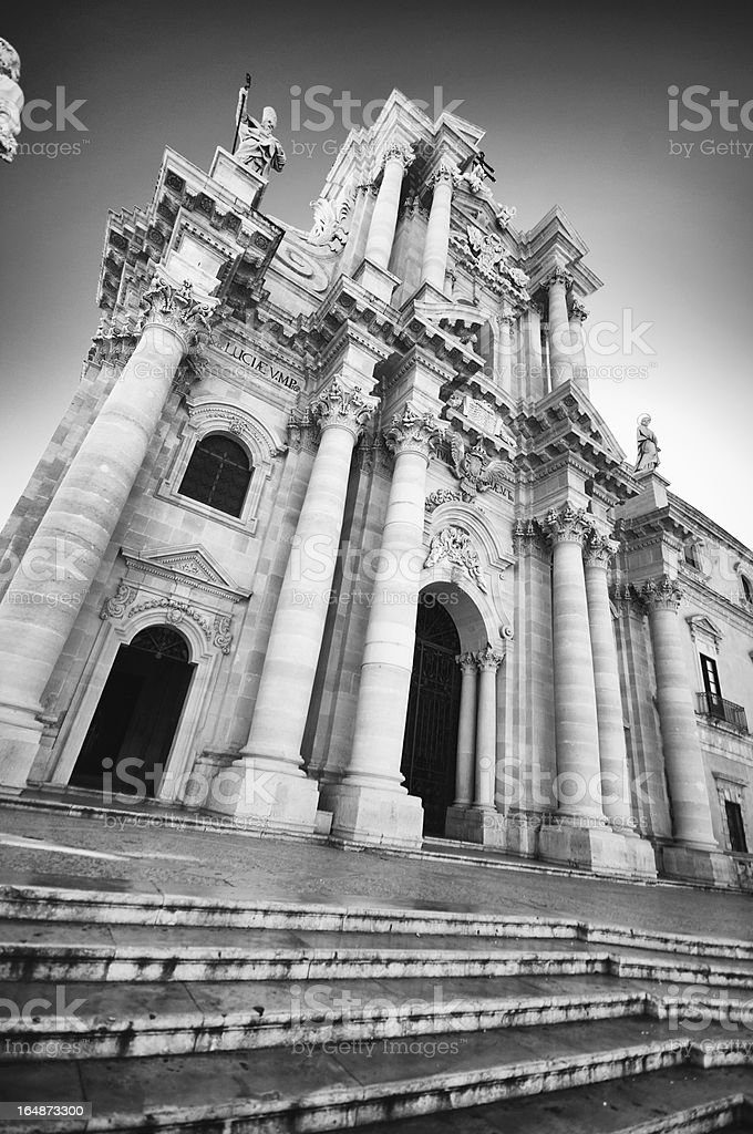 Siracusa, the Cathedral. Black and White. royalty-free stock photo