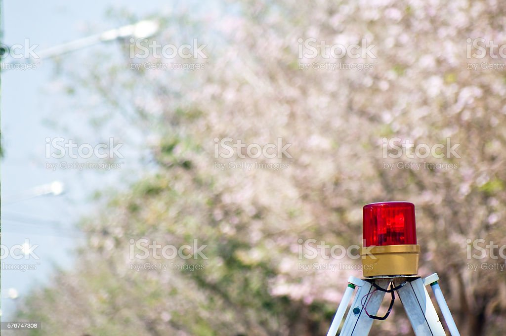 Siren light with flowers background stock photo