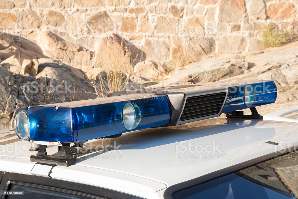 sirens and lights of an old police car stock photo