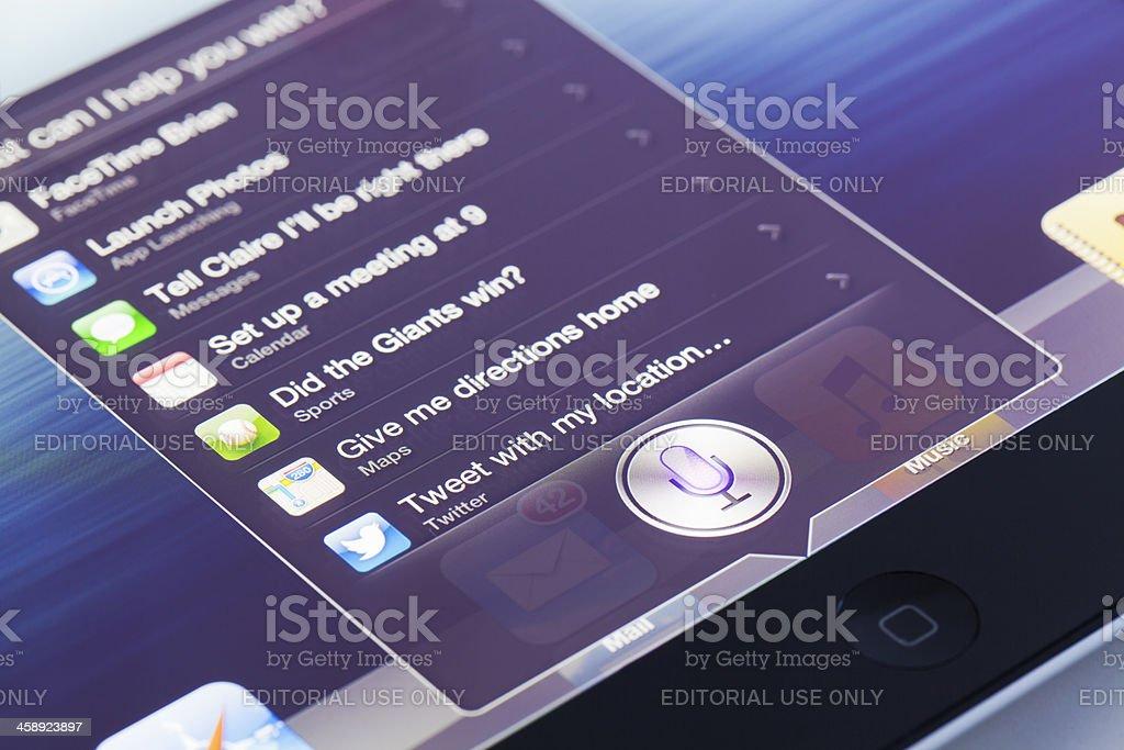 Siri app on ipad with OS 6 royalty-free stock photo