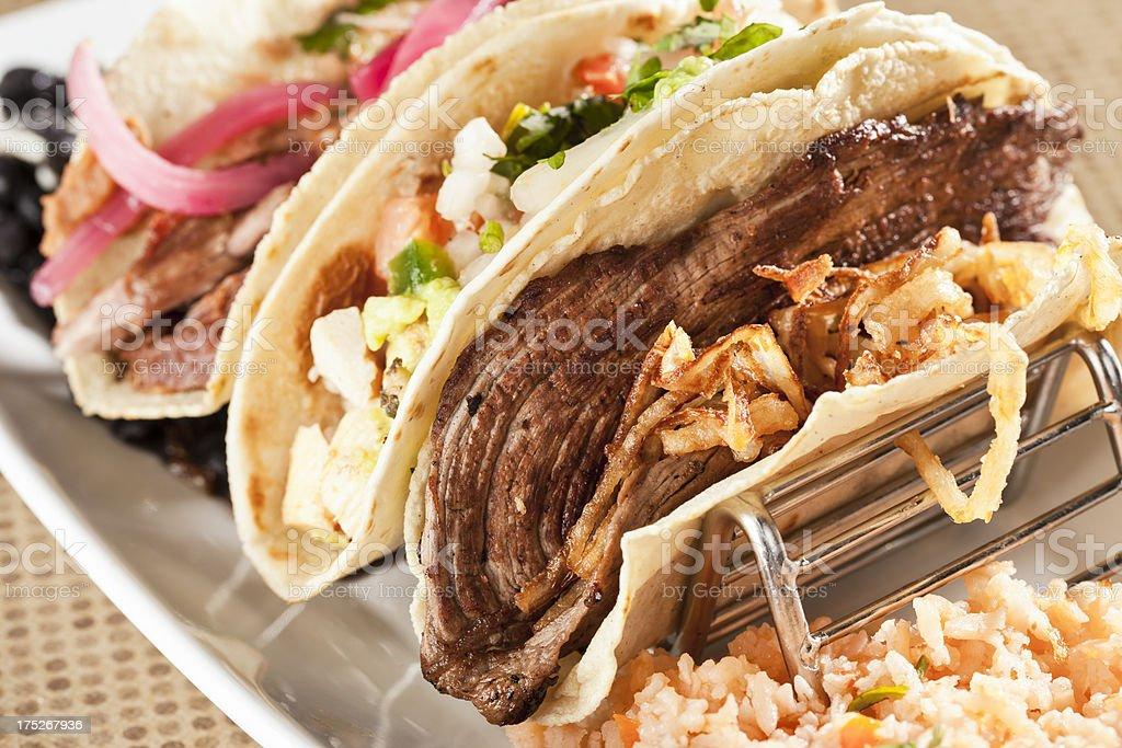 Sirloin, Chicken Breast and Carnitas Tacos stock photo