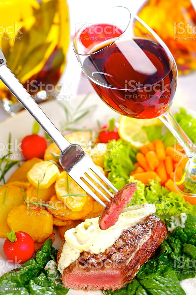Sirloin steak dinner royalty-free stock photo