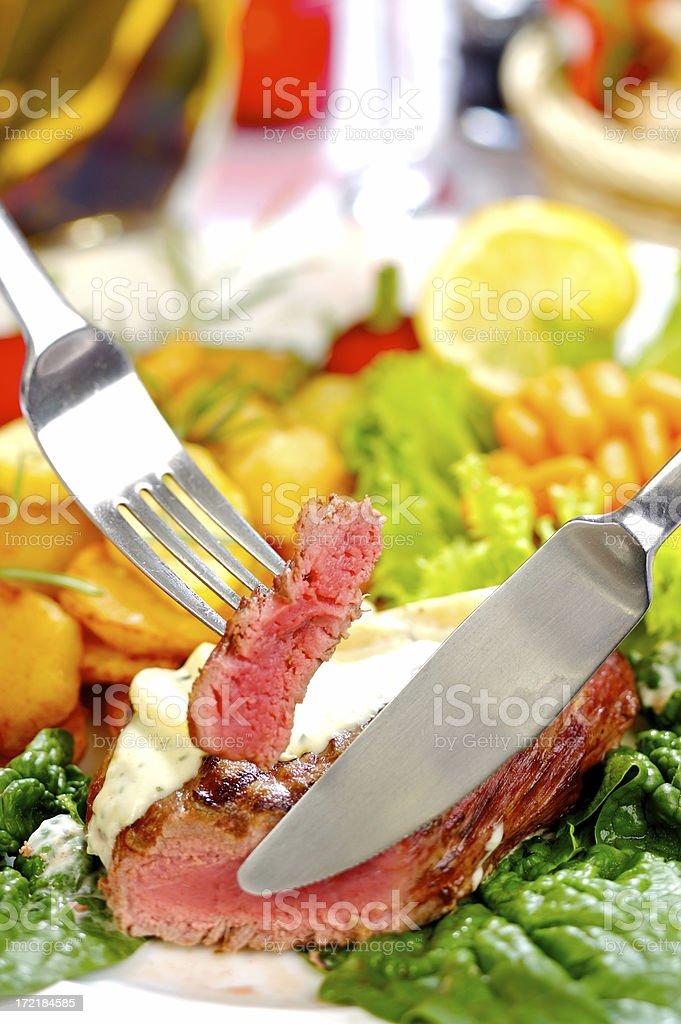 Sirloin steak dinner royalty-free stock photo