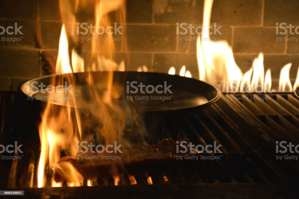 Sirloin steak on the grill at Just Love Steakhouse, Lujiazui, Shanghai, China stock photo