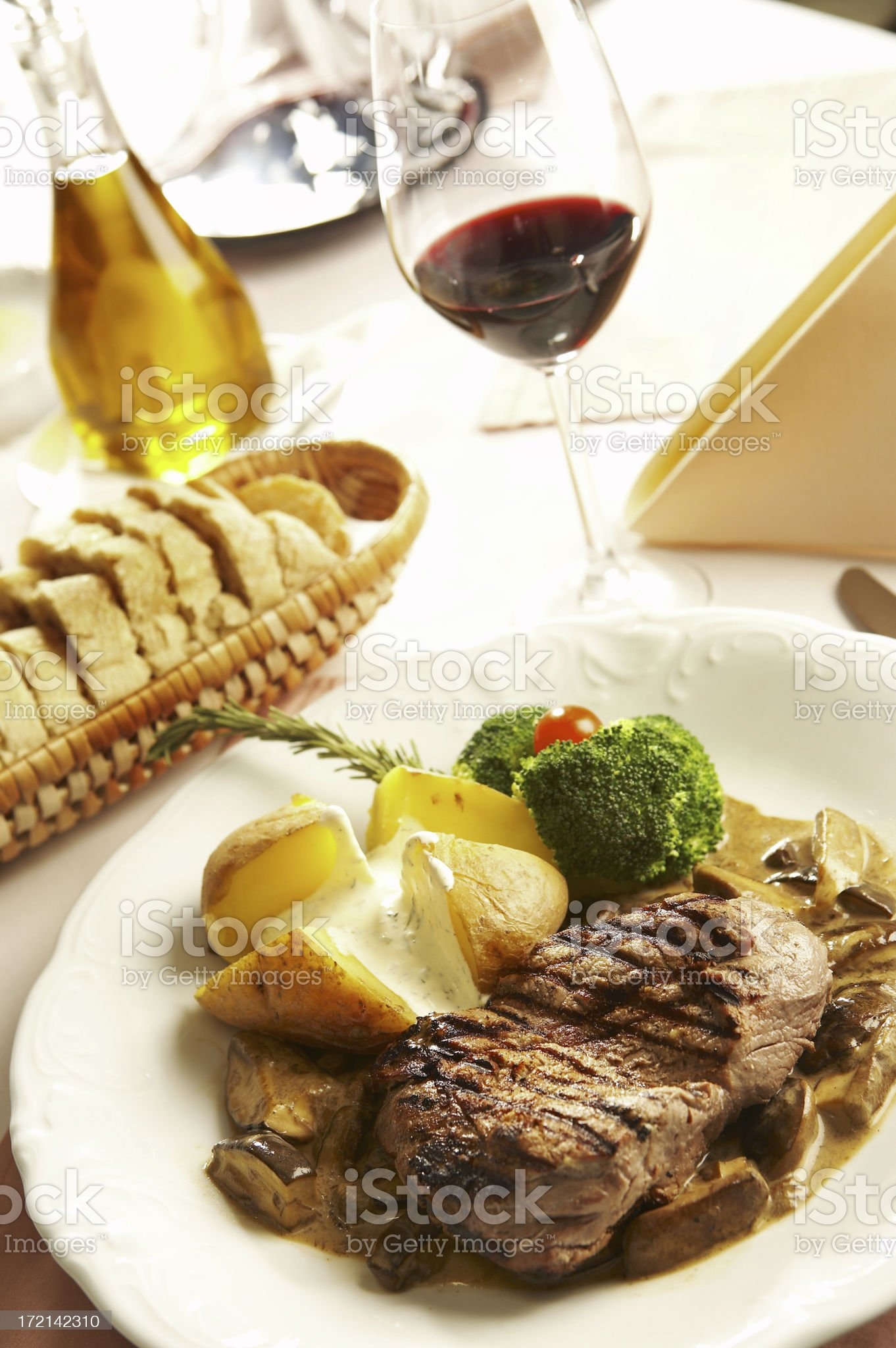 Sirloin steak with mushrooms royalty-free stock photo
