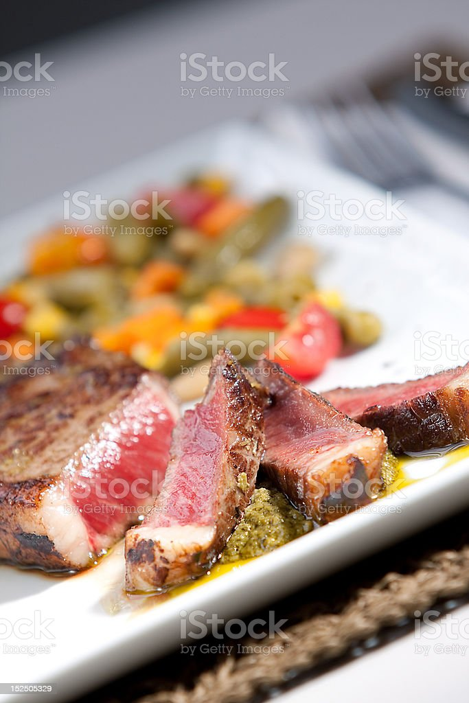 Sirloin Steak with pesto royalty-free stock photo