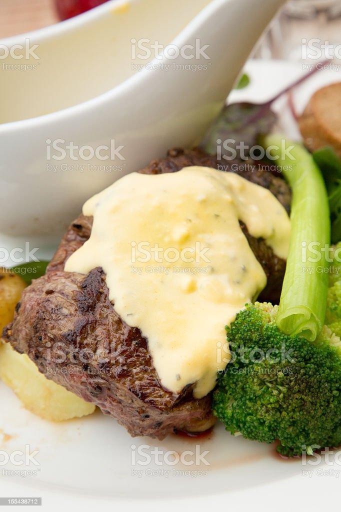 Sirloin Steak with Veggies and bearnaise stock photo