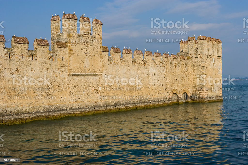 Sirmione, Lake Garda, Italy. External wall of the Scaliger Castle stock photo