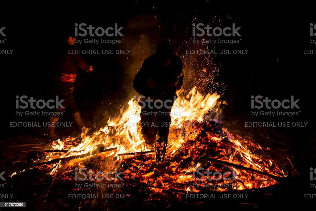 Sirni Zagovezni fire jumping stock photo