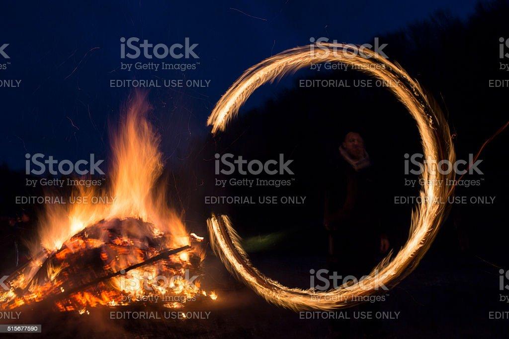 Sirni Zagovezni fire ring stock photo