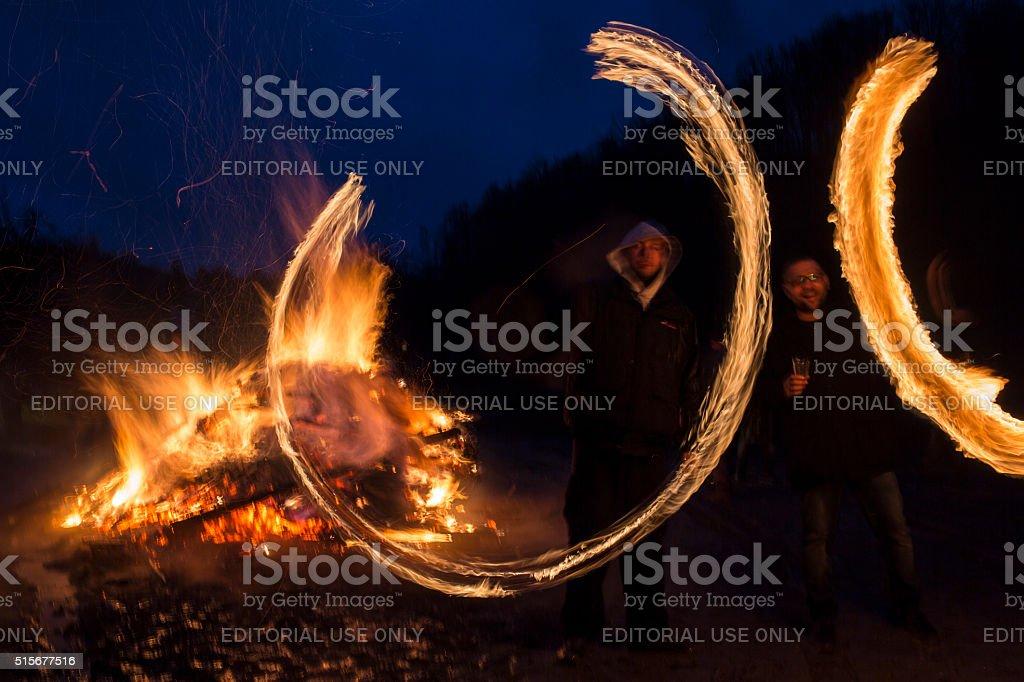 Sirni Zagovezni fire rings stock photo