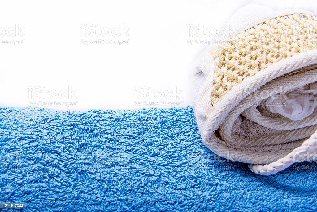 Sisal strap over blue towel stock photo