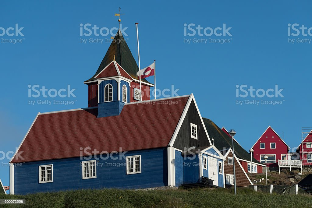 Sisimiut, a charming fishing town in Western Greenland stock photo