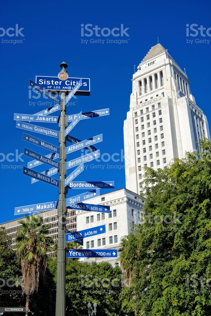 Sister cities of Los Angeles and City Hall building stock photo