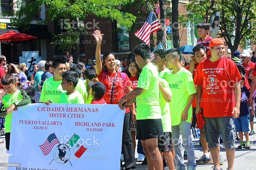 Sister Cities Puerto Vallerta participating in Independence Day Parade stock photo