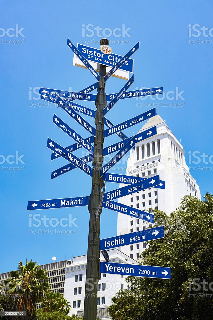 Sister City Sign Across from Los Angeles City Hall stock photo