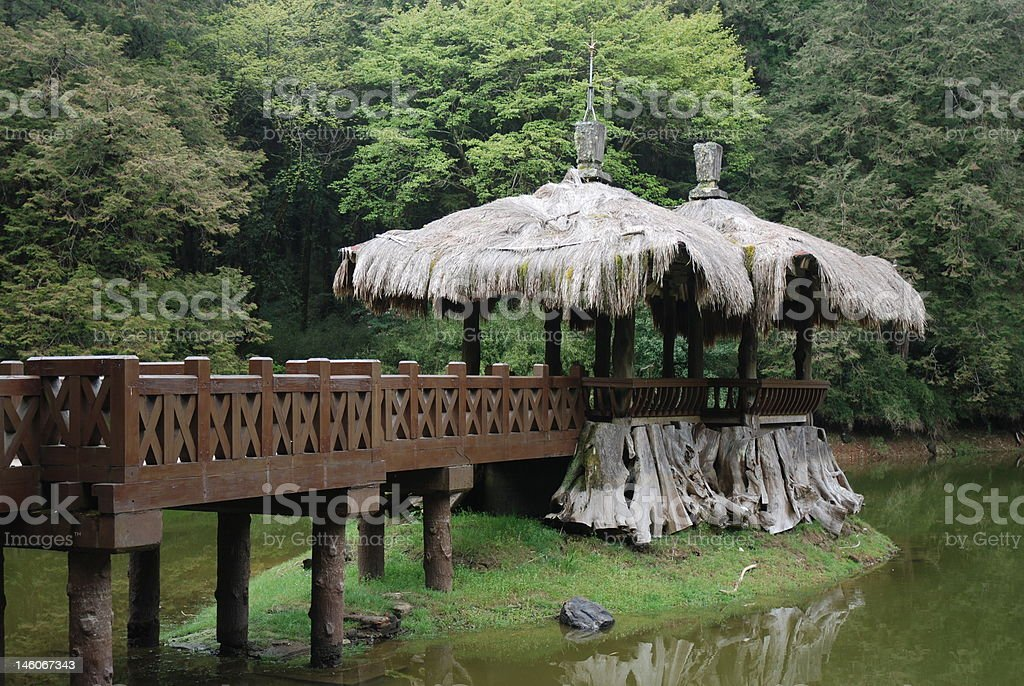 Sister Ponds at Ali Mountain, Taiwan stock photo