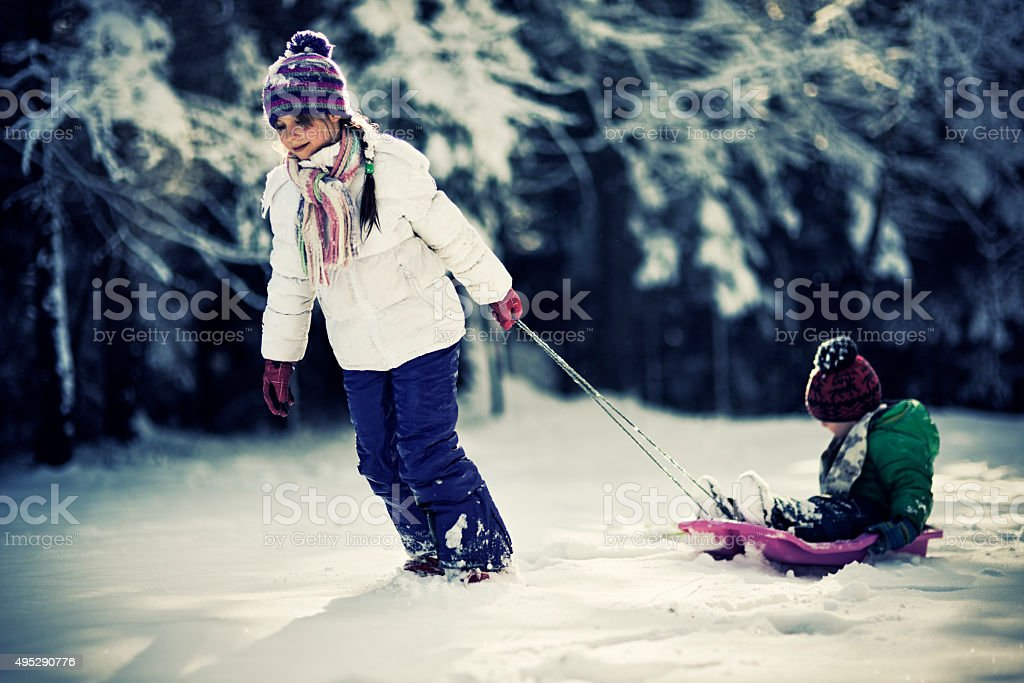 Sister pulling little brother on sled. stock photo