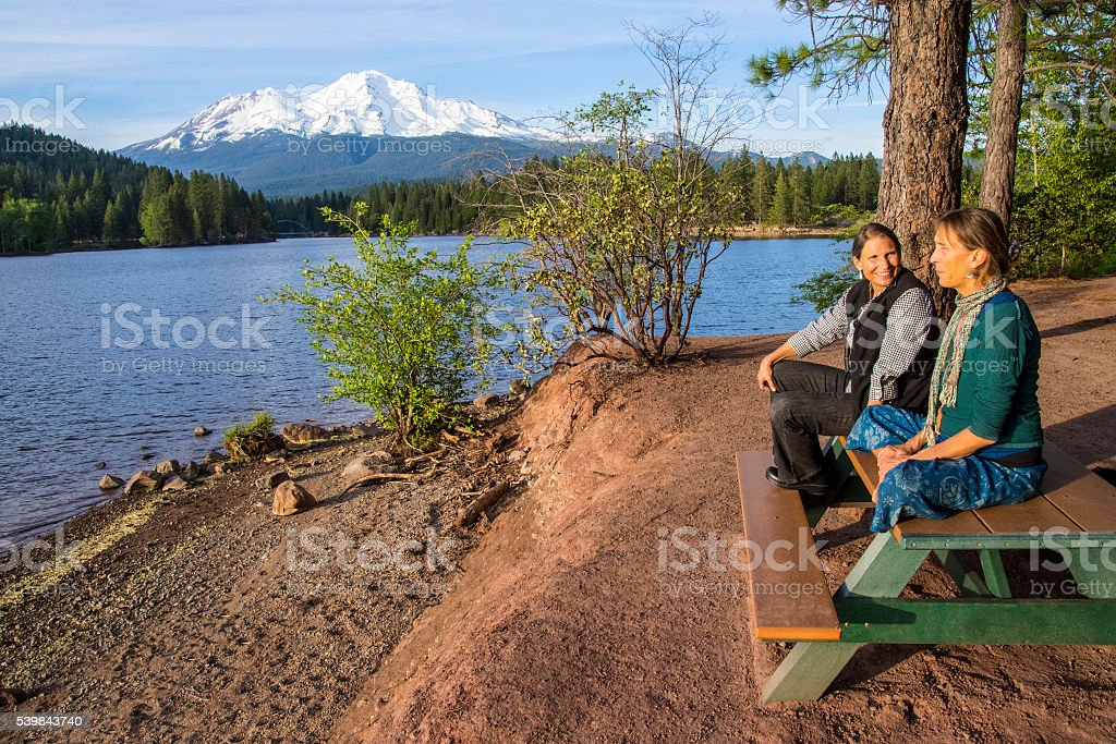 Sisters and Mount Shasta stock photo