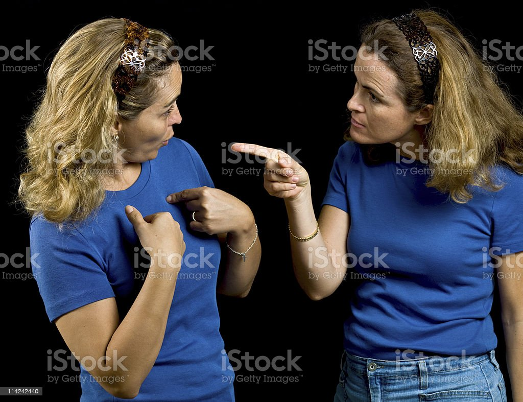 Sisters arguing stock photo