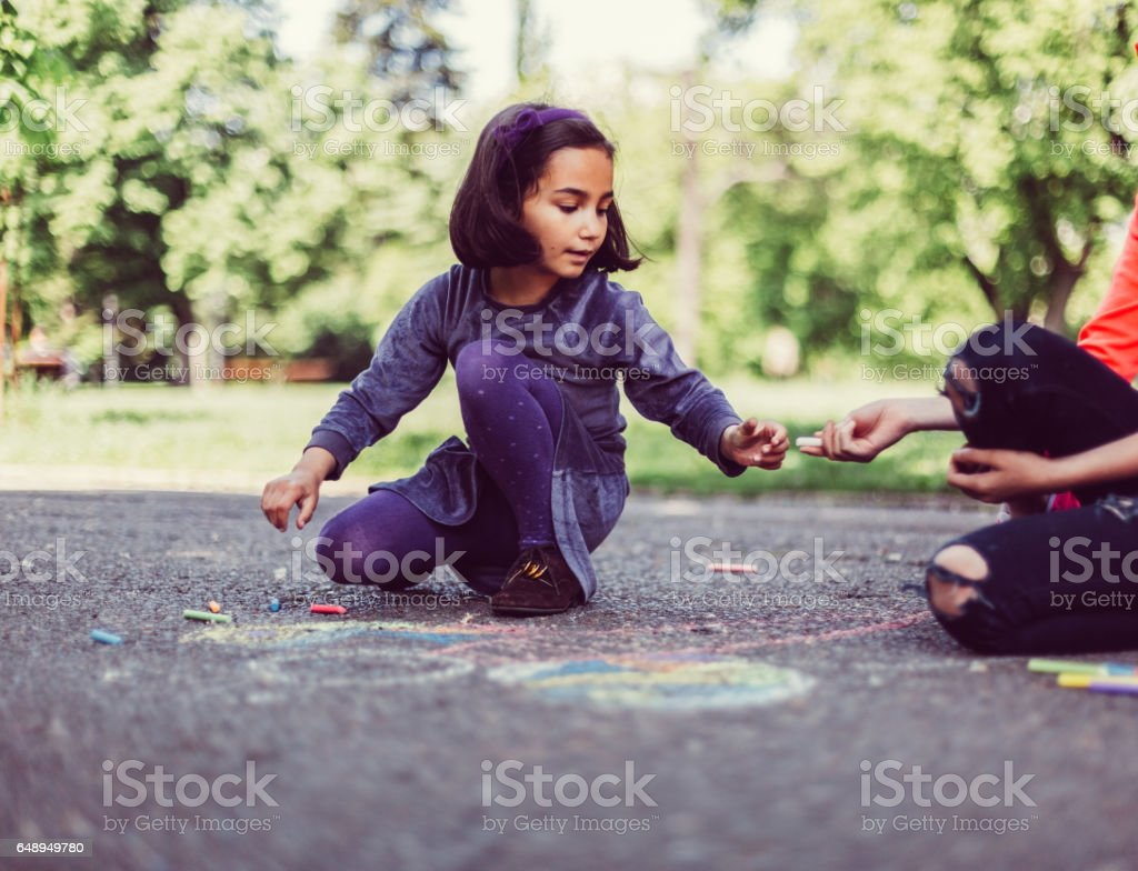 Sisters chalk drawing stock photo