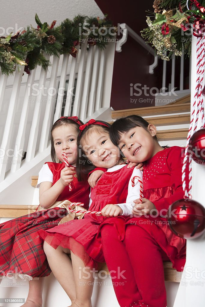Sisters christmas portrait royalty-free stock photo