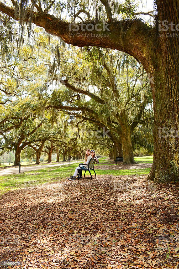 Sisters enjoying time together in autumn southern park. stock photo