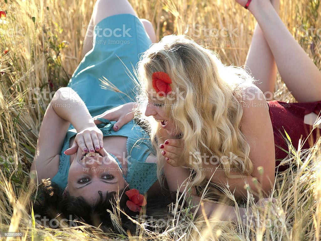 SIsters in field royalty-free stock photo