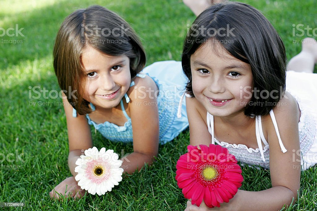 sisters in grass with flowers royalty-free stock photo