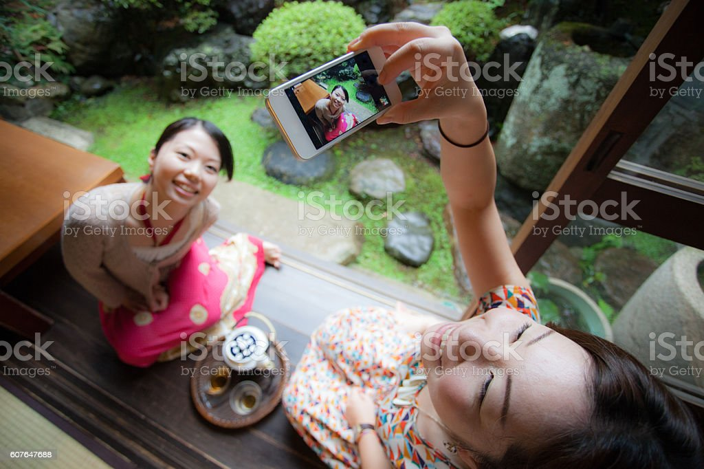 Sisters in Japan stock photo