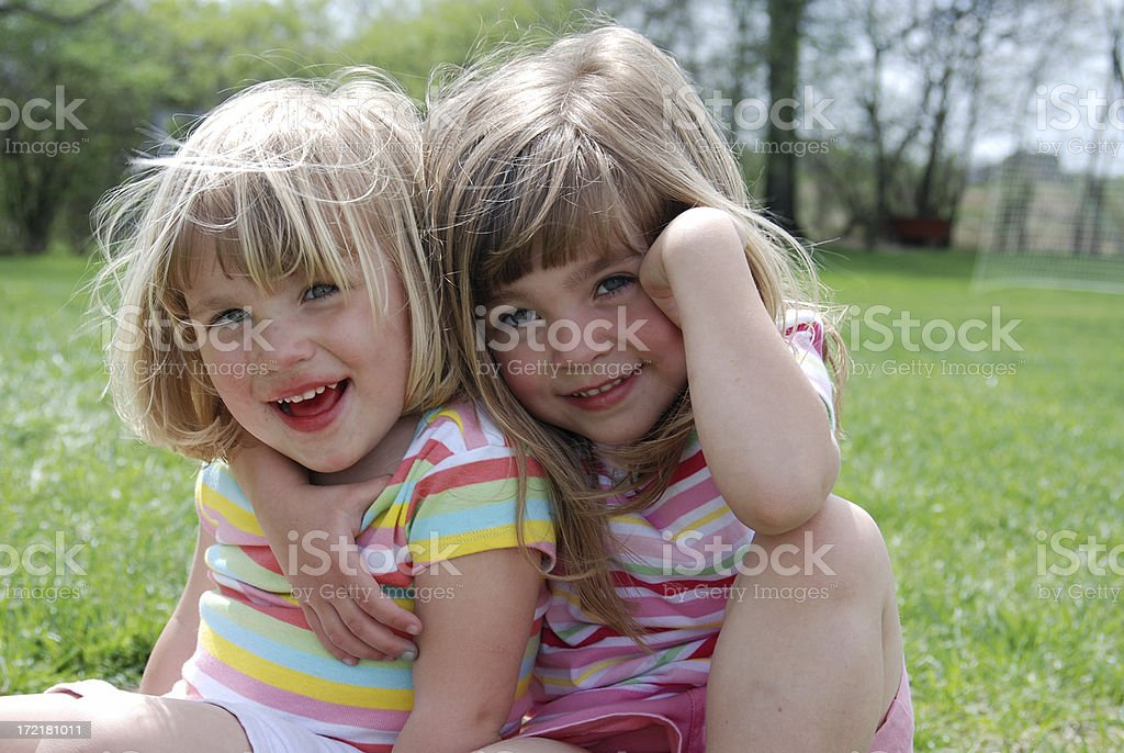 Sisters in the Spring stock photo