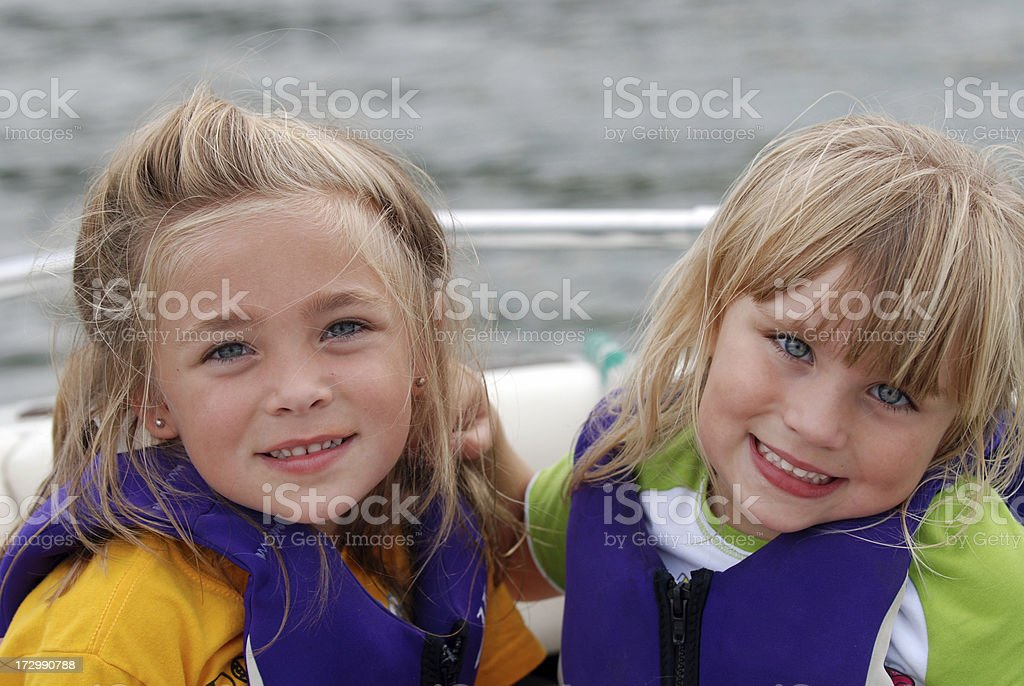 Sisters on the Boat royalty-free stock photo