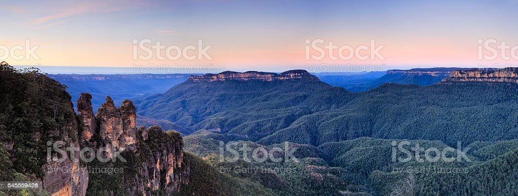 BM 3 Sisters Pink sunrise stock photo