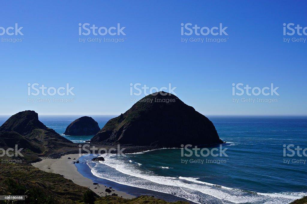 Sisters Rock Blue Sky stock photo
