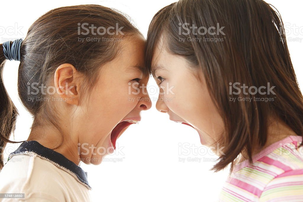 Sisters Screaming Match royalty-free stock photo