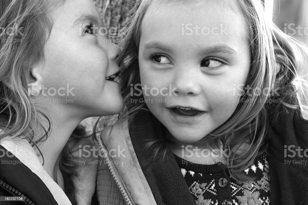Sisters Sharing Secrets royalty-free stock photo