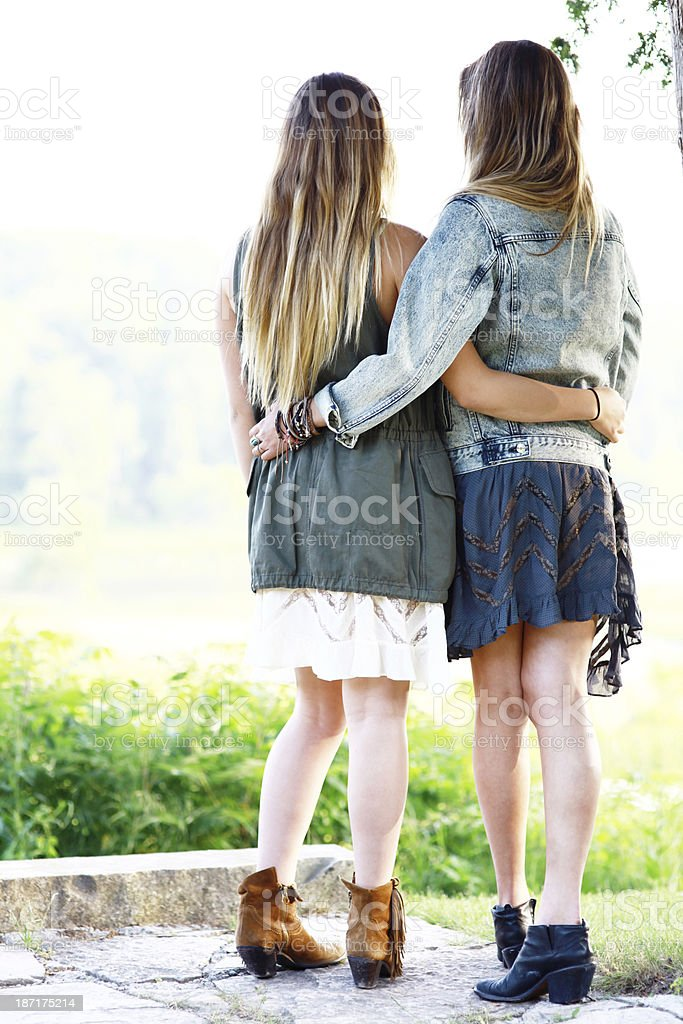 Sisters Standing Together royalty-free stock photo