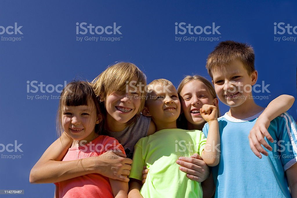 sisters with brothers royalty-free stock photo