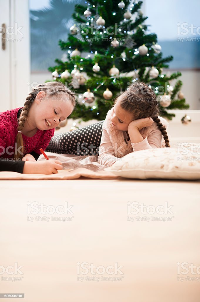 Sisters Writting a Letter to Santa stock photo